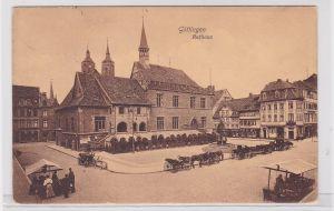 91019 AK Göttingen - Rathaus davor Markthändler & Kutschen 1911