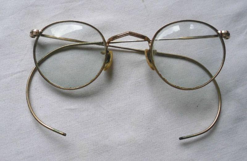Schöne alte vergoldete Brille um 1930 (113521)