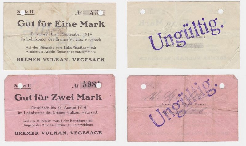 1 & 2 Mark Banknoten Lohnschecks Bremer Vulkan Werft Vegesack 1914 (122497)