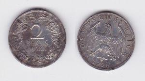 2 Mark Silber Münze Deutsches Reich 1926 E  (124360)