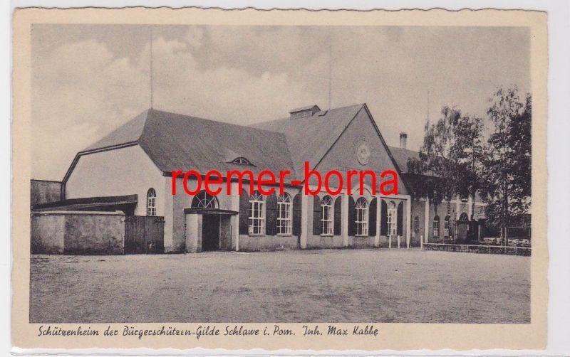 84201 Ak Schlawe Sławno in Pommern Schützenheim der Bürgerschützen Gilde um 1930