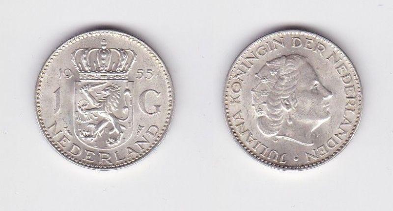 1 Gulden Silber Münze Niederlande 1953 (124405)