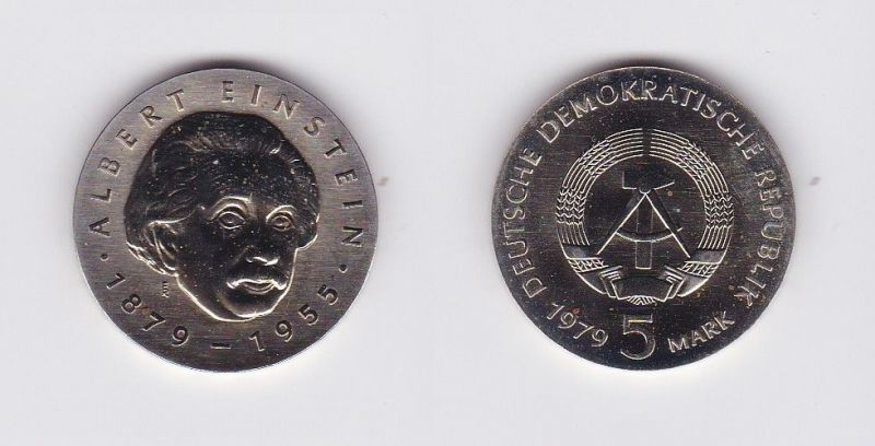 DDR Gedenk Münze 5 Mark Albert Einstein 1979 (124419)