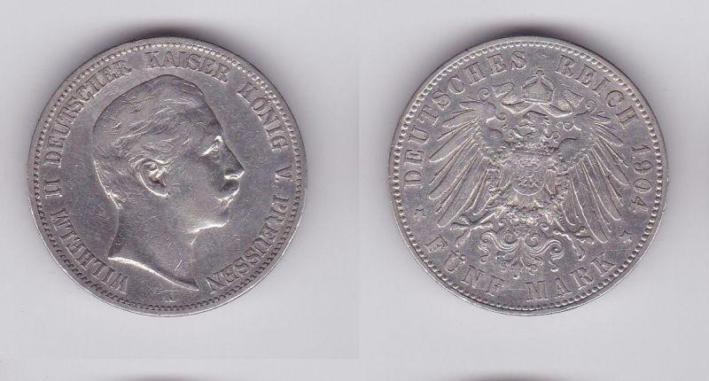 5 Mark Silbermünze Preussen Wilhelm II 1904 A Jäger 104  (124530)