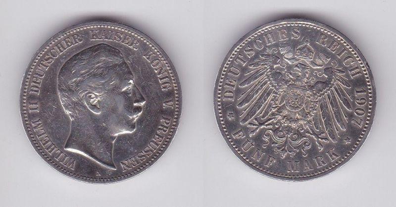 5 Mark Silbermünze Preussen Wilhelm II 1907 A Jäger 104  (124532)