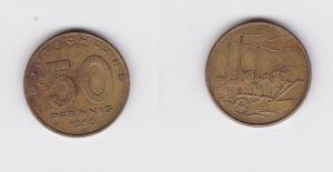 50 Pfennig Messing Münze DDR 1950 Pflug vor Industrielandschaft (124548)