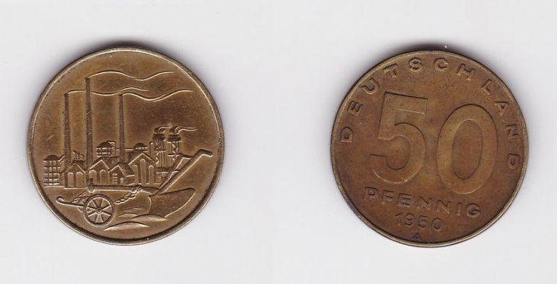 50 Pfennig Messing Münze DDR 1950 Pflug vor Industrielandschaft (124557)