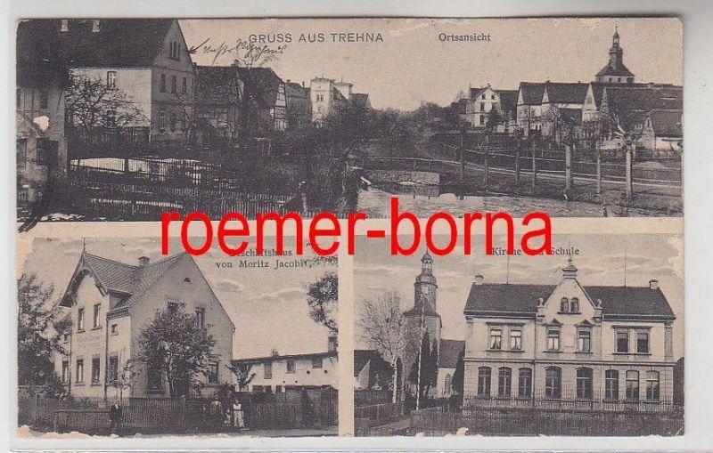 74069 Mehrbild Ak Gruss aus Trehna Geschäftshaus von Moritz Jacobi usw. 1932