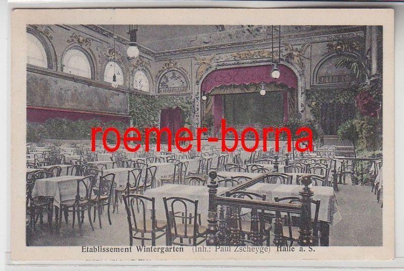 80945 Ak Halle a.S. Etablissement Wintergarten von Paul Zscheyge, Saal 1910