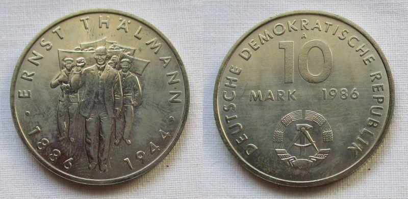 DDR Gedenk Münze 10 Mark Ernst Thälmann 1986 (124104)