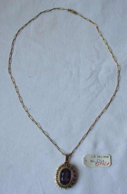 Charmante 585er Gold Kette Handarbeit mit riesigem Amethyst Anhänger (125321)