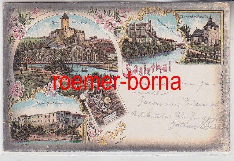 67147 Ak Lithographie Gruss aus dem Saalethal 1903