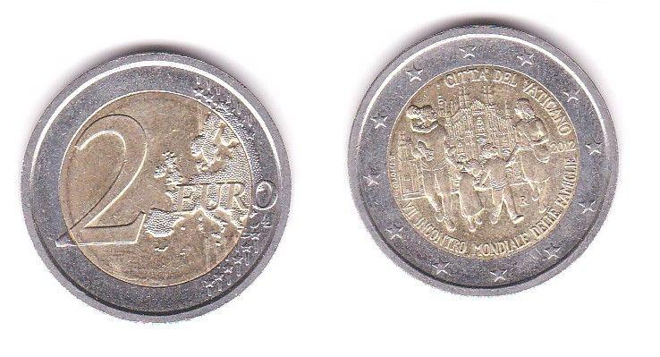 2 Euro Bi-Metall Münze Vatikan Weltfamilientreffen Milano 2012 (116733)
