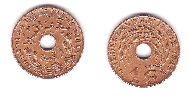 1 Cent Kupfer Münze Niederländisch Indien 1945 116853 Nr