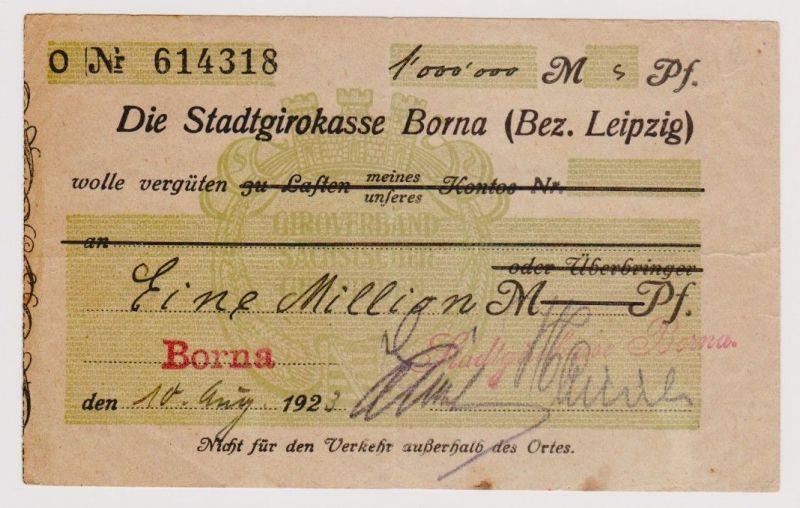 Firmenscheck 1 Million Mark Banknote Stadtgirokasse Borna 10.8.1923 (120336)