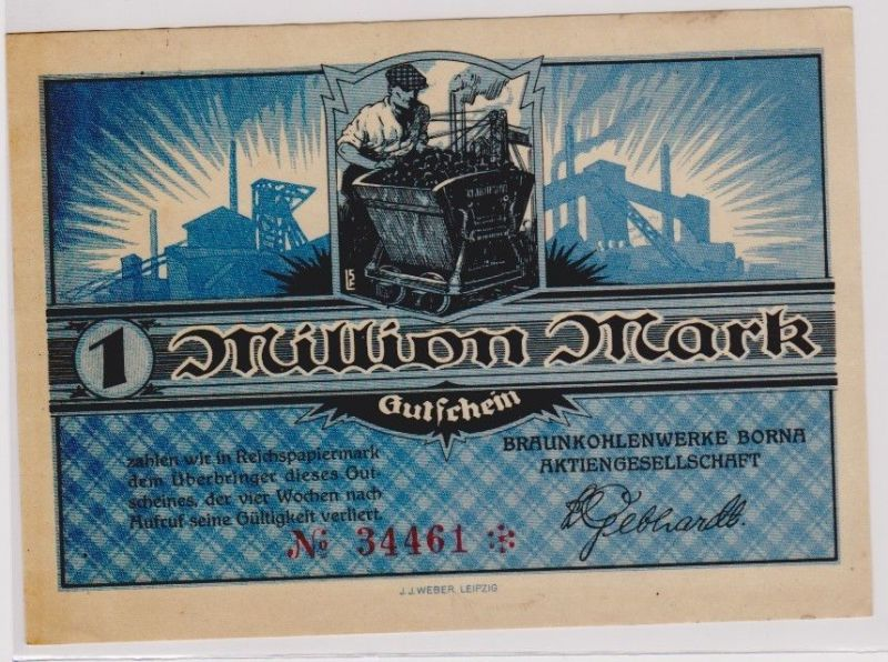 1 Million Mark Banknote Braunkohlenwerke Borna um 1923 (120300)