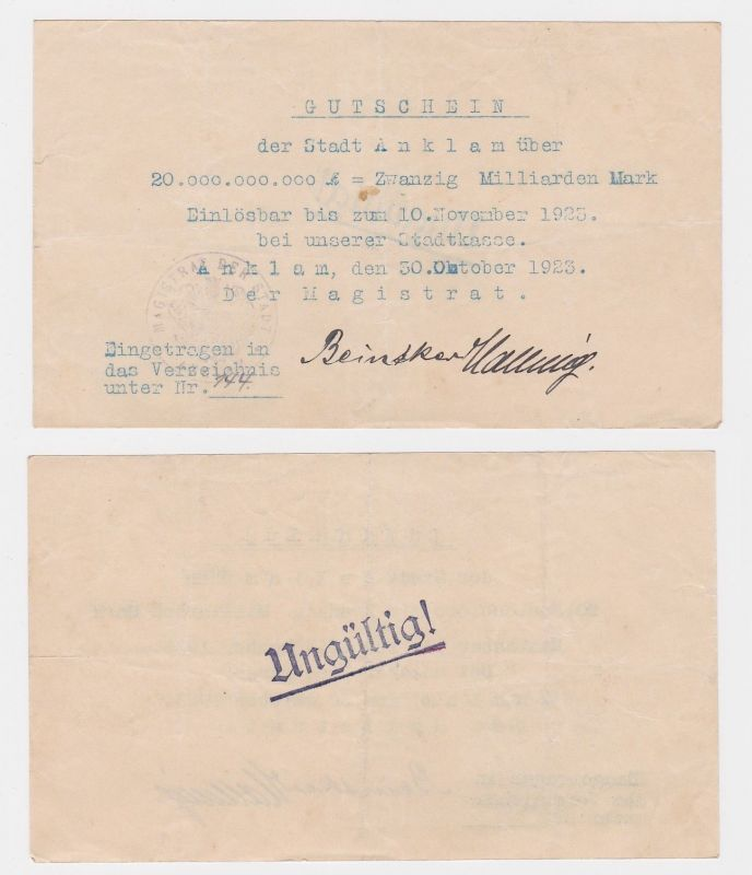 20 Milliarden Mark Banknote Stadt Anklam 30.10.1923 (122411)