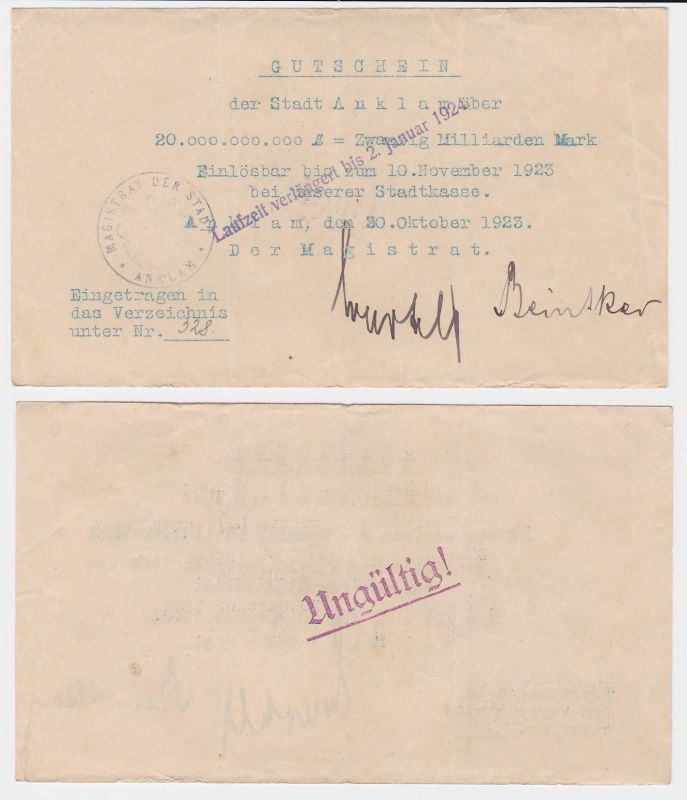 20 Milliarden Mark Banknote Stadt Anklam 30.10.1923 (122129)