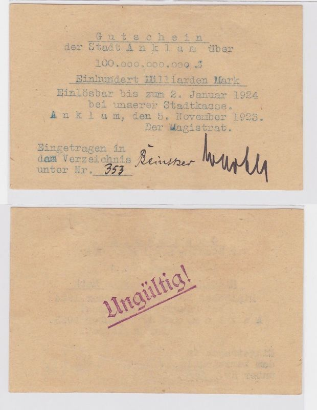 100 Milliarden Mark Banknote Stadt Anklam 5.11.1923 (122416)