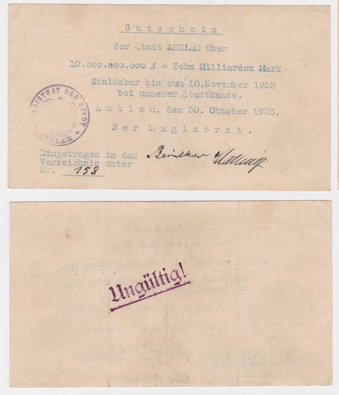 10 Milliarden Mark Banknote Stadt Anklam 30.10.1923 (122255)