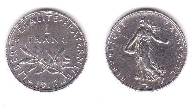 1 Franc Silber Münze Frankreich 1916 (119977)