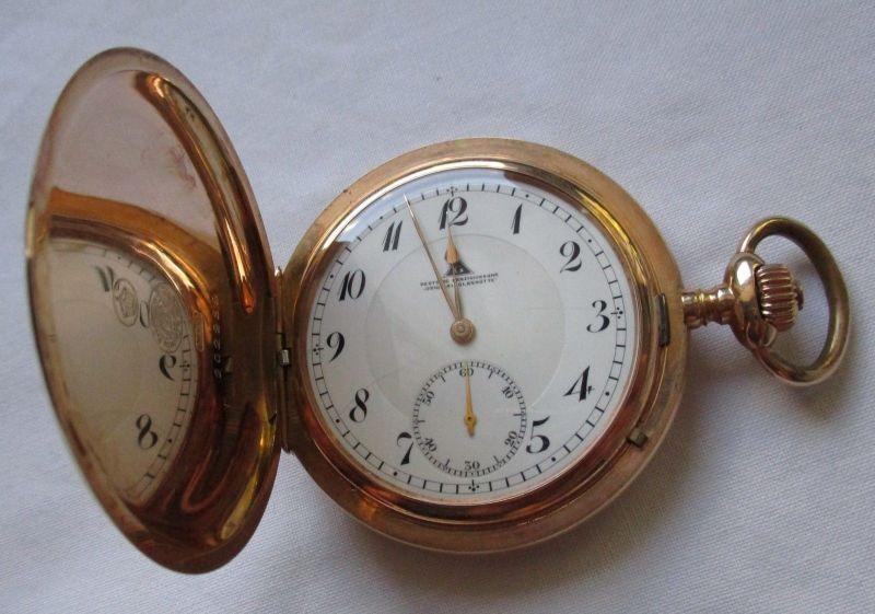 Taschenuhr Deutsche Präzisions-Uhrenfabrik Glashütte 585er Gold um 1900 (112401)