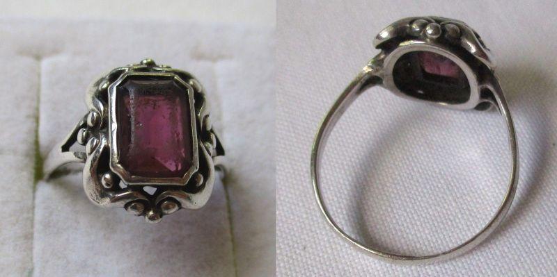 Charmanter Silber Ring Damenring mit violettem Schmuckstein (125297)