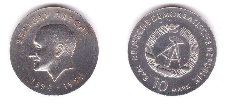 DDR Gedenk Silber Münze 10 Mark Bertholt Brecht 1973 (118191)