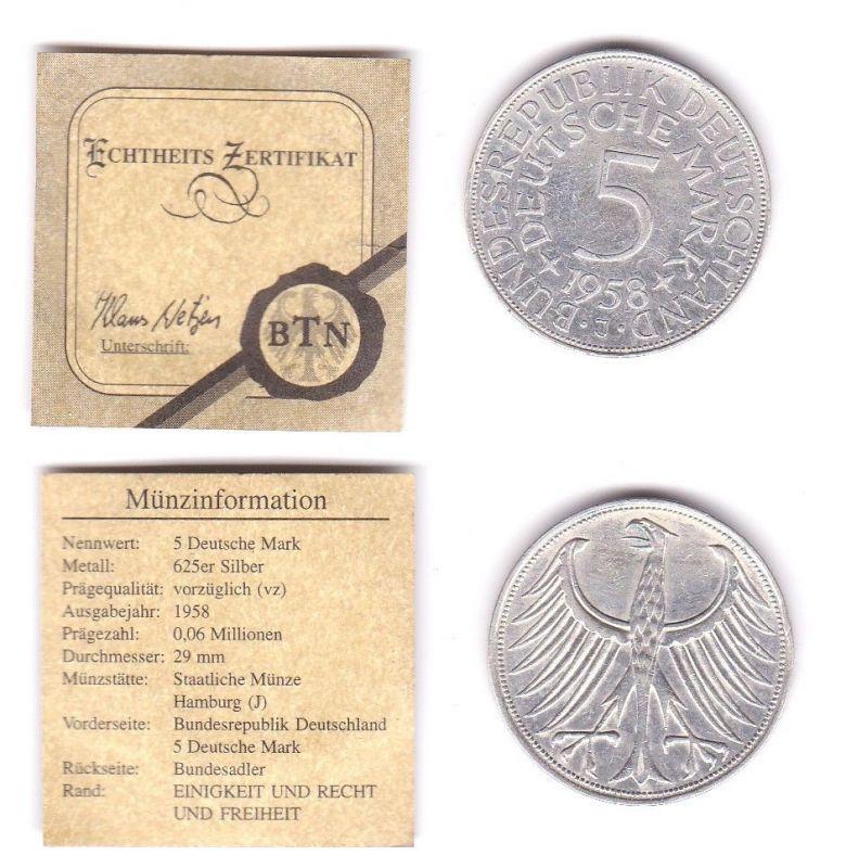 5 Mark Silbermünze Kursmünze BRD 1958 J Jäger 387 (111966)