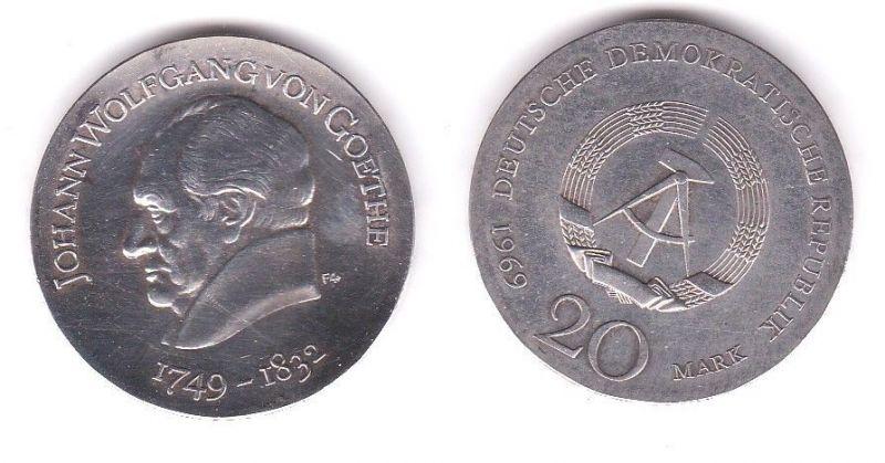Ddr Gedenk Münze 20 Mark Johann Wolfgang Von Goethe 1969 Silber