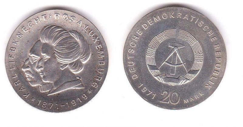 DDR Gedenk Münze 20 Mark Liebknecht Luxemburg 1971 Silber (119628)