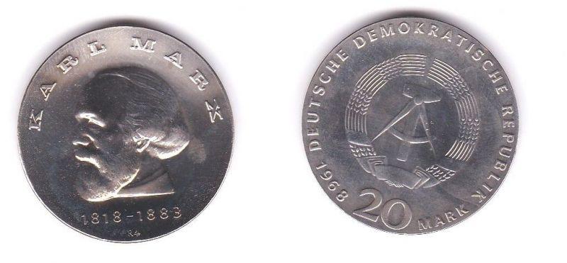 DDR Gedenk Münze 20 Mark Karl Marx 1968 Silber (110445)