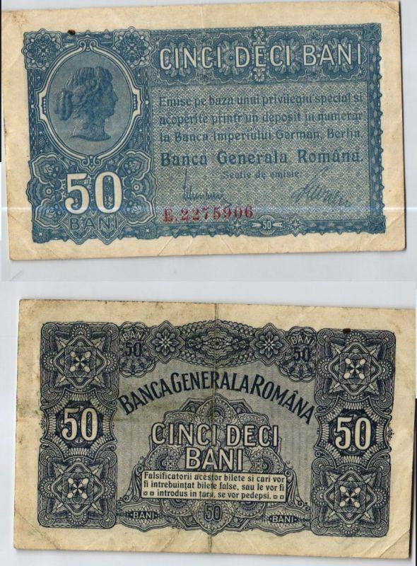 50 Bani Banknote Besetzung Rumäniens ohne Datum 1.Weltkrieg (123977)