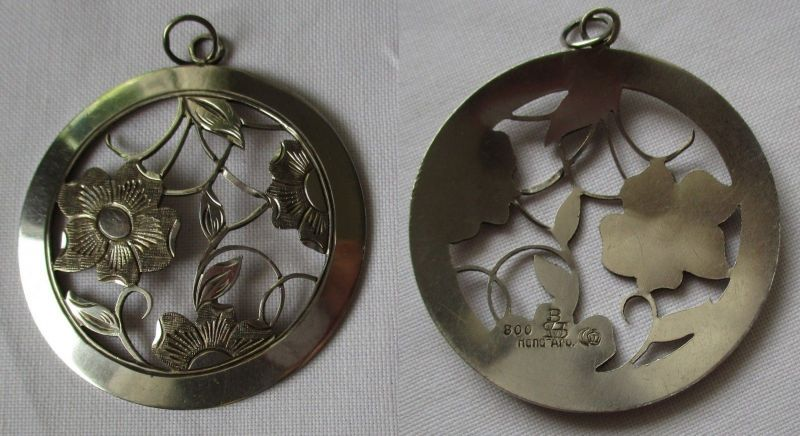 Stilvoller 800er Silber Ketten Anhänger Jugendstil Handarbeit (125302)