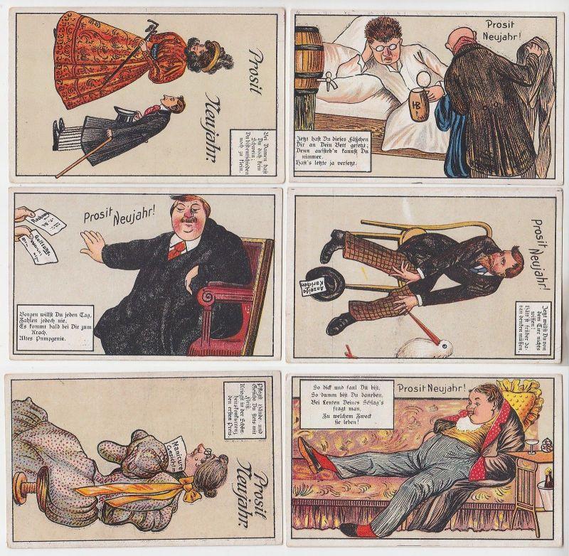68262/6 Neujahrs Ak Humor Sprüche um 1920