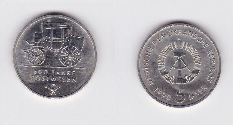 DDR Gedenk Münze 5 Mark 500 Jahre Postwesen 1990 (121482)