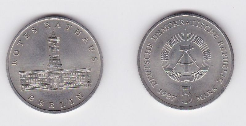DDR Gedenk Münze 5 Mark Berlin Rotes Rathaus 1987 (119792)