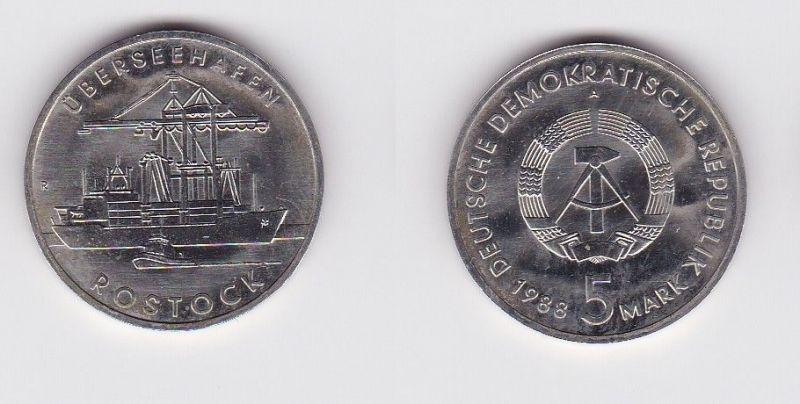 DDR Gedenk Münze 5 Mark Überseehafen Rostock 1988 (121478)