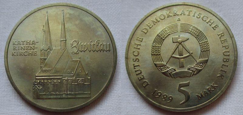 DDR Gedenk Münze 5 Mark Zwickau Katharinenkirche 1989 (125026)