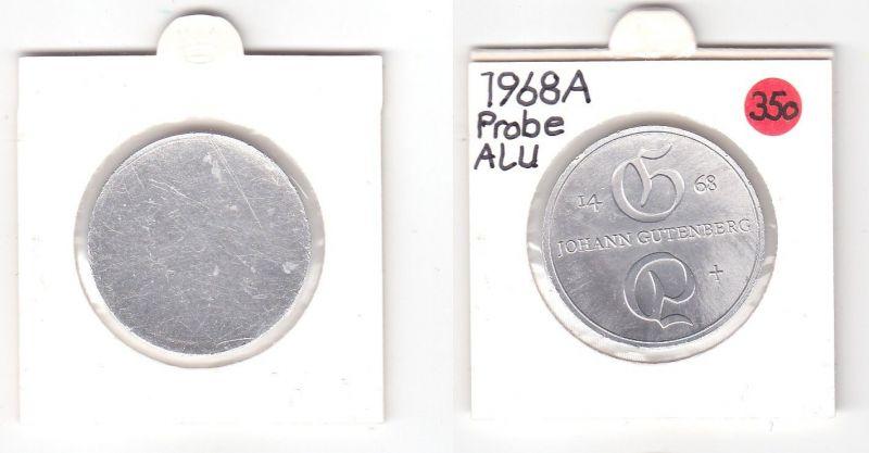 DDR Gedenk Münzen 10 Mark einseitige Alu Probe, Gutenberg 1968 (118894)