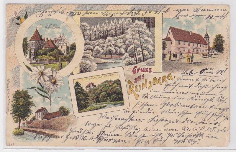 71483 Ak Lithographie Gruss aus Reinsberg Gasthof, Huthaus usw. 1908