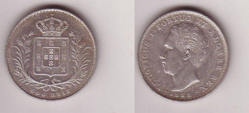 500 Reis Silbermünze Portugal 1888 (115818)
