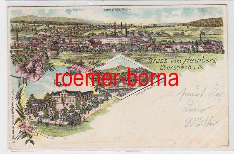 80847 Ak Lithographie Gruß vom Hainberg Ebersbach in Sachsen 1906