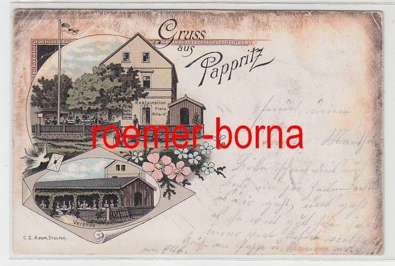 80598 Ak Lithographie Gruß aus Pappritz Restauration usw. 1904