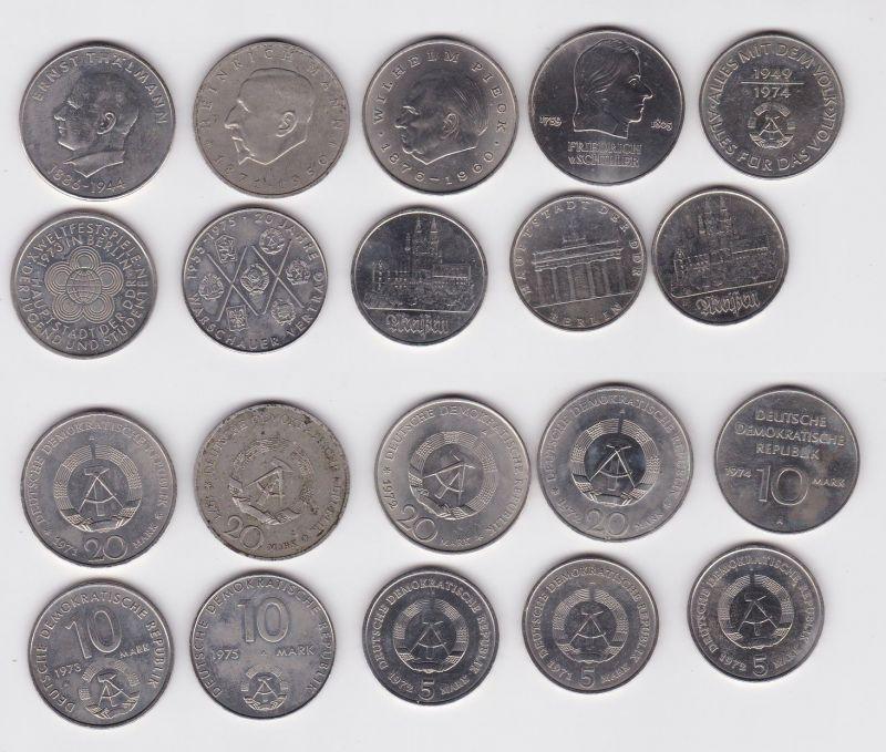 10 DDR Gedenkmünzen 5, 10 und 20 Mark Pieck, Mann usw. (124219)
