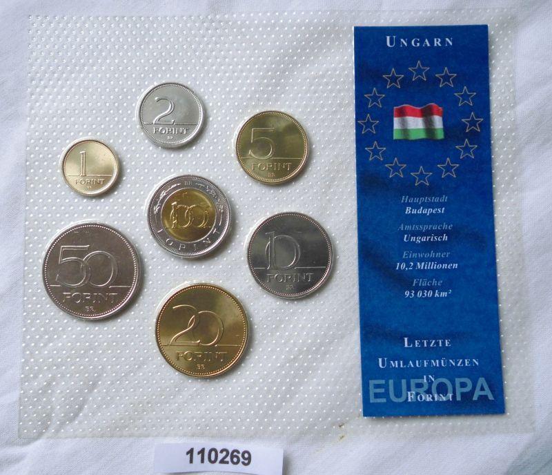 Kursmünzensatz mit 7 Münzen 1 bis 100 Forint Ungarn bankfrisch (110269)