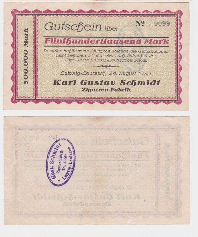 500000 Mark Banknote Leipzig Leutzsch Zigarrenfabrik Karl Gustav Schmidt(121901)