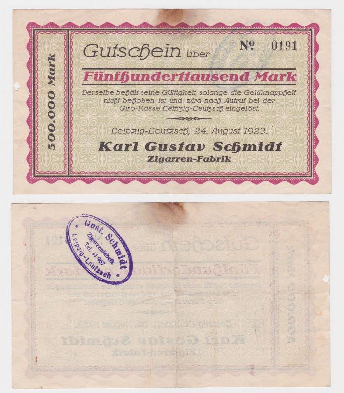 500000 Mark Banknote Leipzig Leutzsch Zigarrenfabrik Karl Gustav Schmidt(121907)