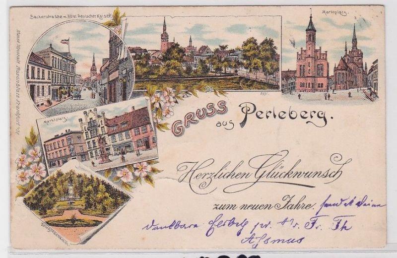 90561 Lithografie AK Gruss aus Perleberg - Markt, Kriegerdenkmal & Panorama 1896