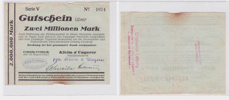 2 Mill. Mark Banknote Leipzig Leutzsch Maschinenfabrik Kleim & Ungerer (122628)